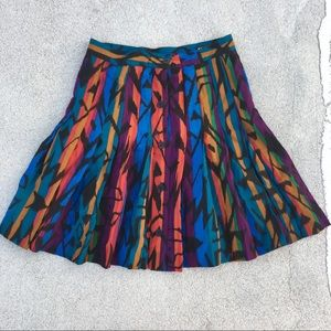 Vtg 80s Escada Wool Graphic Pleated Skirt 38